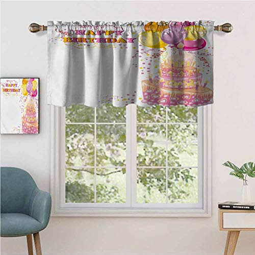 Window Curtain Light Filtering Rod Pocket Valance Celebration Girl Themed Party Cake Candles Balloons Hearts Image, Set of 2, 42'x24' for Bedroom, Kitchen Or Bathroom Windows