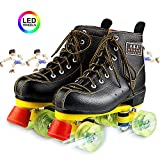 Wing Negro Patines 4 Ruedas Unisex Adulto Patinaje Artistico Patines Profesionales para Mujer Hombres, Patines Paralelos Classic Roller con luz LED, Disco Patin Bota,42