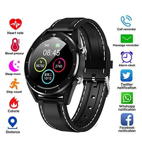FXAOYWT Fitness Tracke Smartwatch, Herren-Sportuhr mit EKG-Herzfrequenz-Blutdruckmessung Schrittzählerarmband, Anrufer-Erinnerung,Black