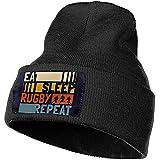 Bonnet en Tricot Doux Mangez Sommeil Rugby Repeat Classique Skull Cap Fan Sport Watch Cap Noir