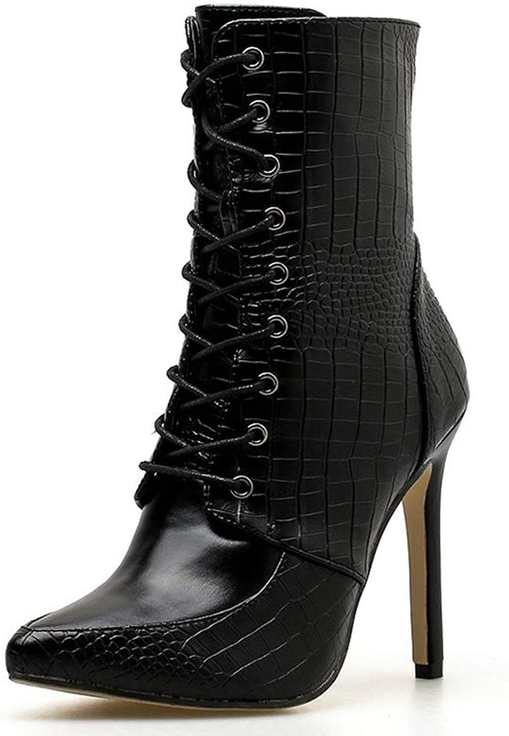 GIY Women Sexy Pointed Toe Leather Ankle Boots Ladies Serpentine Side Zipper High Heels Ankle Boots Knight Short Boots