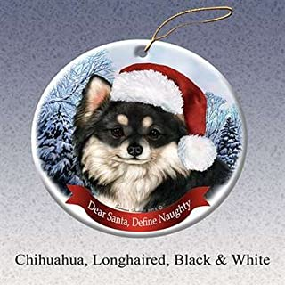 Holiday Pet Gifts Chihuahua Longhaired Black & White Dog Porcelain Ornament