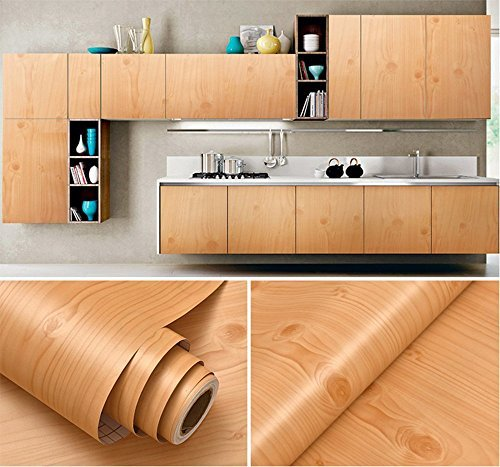 GLOW4U Faux Wood Grain Contact Paper Vinyl Self Adhesive Shelf Drawer Liner for Kitchen Cabinets Shelves Table Desk Dresser Furniture Arts and Crafts Decal 24 Inches by 16 Feet