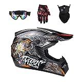 Lvguang Unisex Schutzhelm Mopedhelm Motocross Helm für Motorrad Crossbike & Motorrad Gezeichnete Gesichtsmaske & Motorradbrille & Handschuhe für Motorräder (Schwarz#1)
