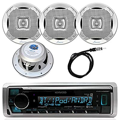 Kenwood in-Dash Marine Bluetooth Digital USB AUX iPod AM/FM Radio Stereo Player with 4 X Lanzar 2-way Audio Speakers and Enrock 45-Inch Antenna