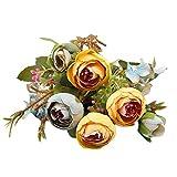 Beautyjourney Ortensia Fleur Artificielle Fausse Fleur Boheme Fausse Fleur Mexique 1 Bouquet Vintage Pivoine Artificielle Fleurs De Soie Bouquet pour La DéCoration (Bleu)