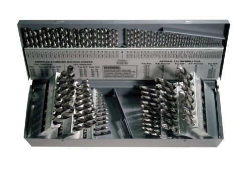 Cleveland C01330 CLE-MAX 115 Piece High-Speed Steel General Purpose Jobber Length Drill Bit Set, Uncoated (Bright) Finish, Spiral Flute, 118 Degrees Point, 1/16