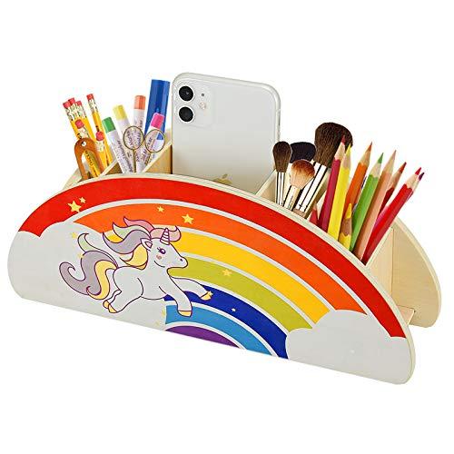 WoodenPencilHolderOrganizerforDesk,RainbowDeskOrganizerforKids,Art Supply Caddy Phone Holder, School Organizer and Storage, Makeup Brush Crayon Markers Office Container Desktop Organization