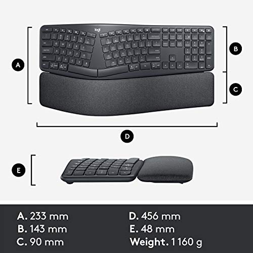 Logitech Ergo K860 Wireless Ergonomic Keyboard with Wrist Rest - Split Keyboard Layout for Windows/Mac, Bluetooth or USB Connectivity