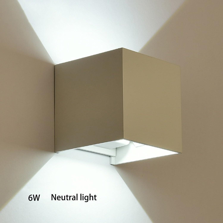 Lamp MEI Nachtlicht Wandleuchte LED Outdoor Indoor Wasserdichte Neutrale Licht Nachttisch Wei Schwarz Eingeschlossen Birne Energiesparlampe (Farbe   Wei, gre   F-LED6W)