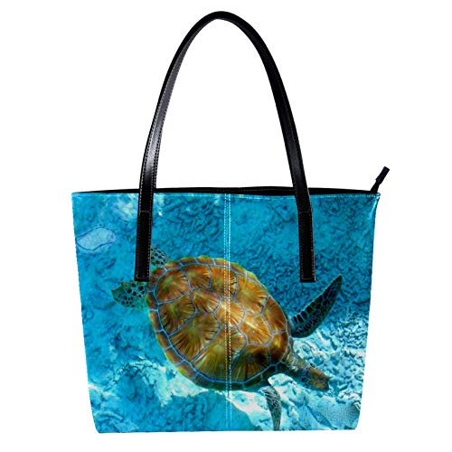 Fashion Women Shoulder Bag Microfiber leather Handbag Large Capacity Beach Bag Simple Tote Bag for Travel Sport Casual Shopping and Work Brown Sea Turtle 15.7x11.4x3.5in