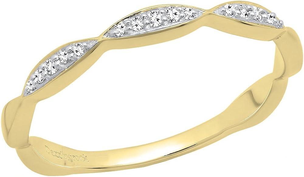 Dazzlingrock Collection 0.05 Carat (ctw) 10K Gold Round Diamond Ladies Anniversary Wedding Stackable Band
