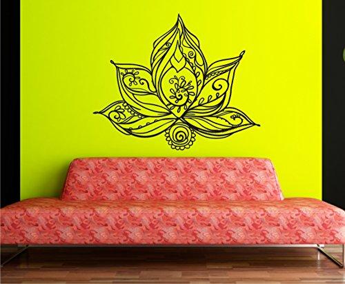 Sticker mural Fleur de Lotus Lotus dans 33 couleurs mat ou brillant autocollant Mandala Yoga Ornament Fleurs Sticker mural 60 x 70 cm - Gris clair mat