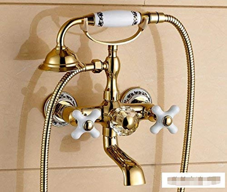 Oudan Alle Kupfer und Gold Continental einfache Regendusche-Kit Badewanne Wasserhahn hei und kalt Anrufe-B (Farbe   -, Gre   -)
