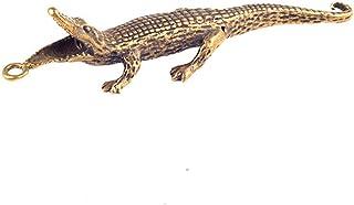 ZGPTX Retro Brass Solid Crocodile Keychains Pendants Mini Pocket Alligator Crafts Office Desk Ornaments Car Key Chain Ring...