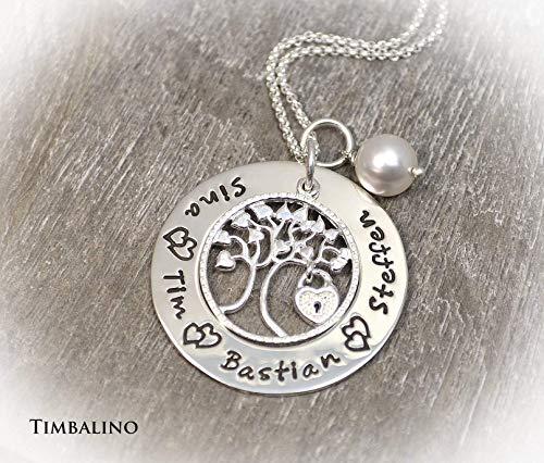 Namenskette, Baum des Lebens Kette mit Wunschgravur, Stammbaumkette