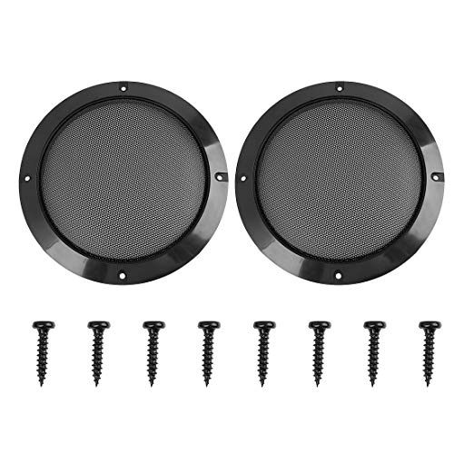 X AUTOHAUX 2pcs 6.5inch Black Car Speakers Cover Steel Mesh Audio Subwoofer Grill Protector