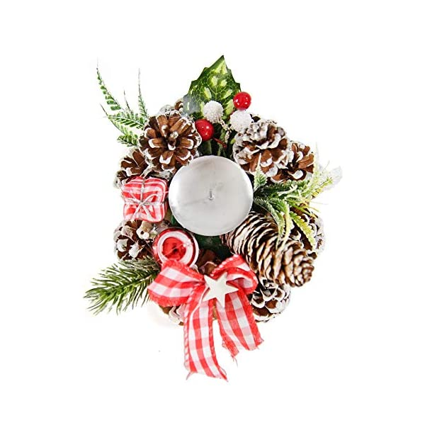 "Home-X Gingham Pinecone Christmas Wreath Candle Holder, Artificial Advent Wreath, Winter Home Decorations, (6"" Diameter)"