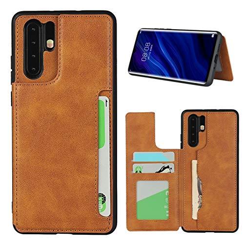 SunYoo Custodia per Huawei P30 PRO, con Morbida Pelle PU e Chiusura Magnetica e Flip Folio con Cinturino da Polso Compatibile per Huawei P30 PRO(6,47 Pollici)-Marrone Chiaro