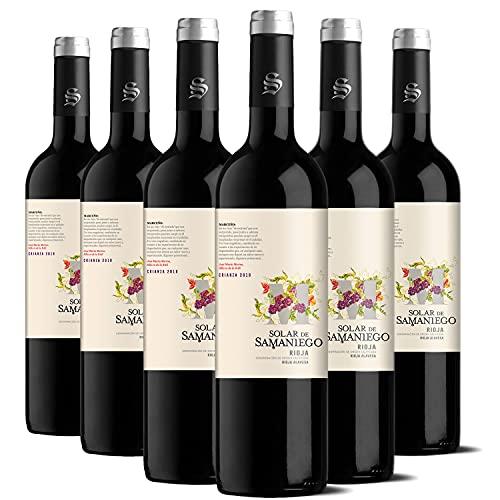 Solar de Samaniego – Vino Tinto Vegano Crianza 2018 Denominación de Origen Calificada Rioja Alavesa, Variedad Tempranillo, 14 meses en barrica – Caja de 6 botellas x 750 ml – Total: 4500 ml