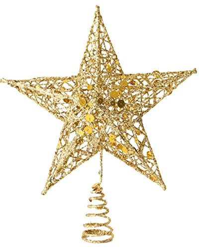 GEMVIE 3D Weihnachtsbaumspitze, Hohlstern, 20 x 15 cm, aus glänzendem Eisen, Dekoration, Weihnachtsbaumspitze, Weihnachtsbaum, Eisen (Gold)