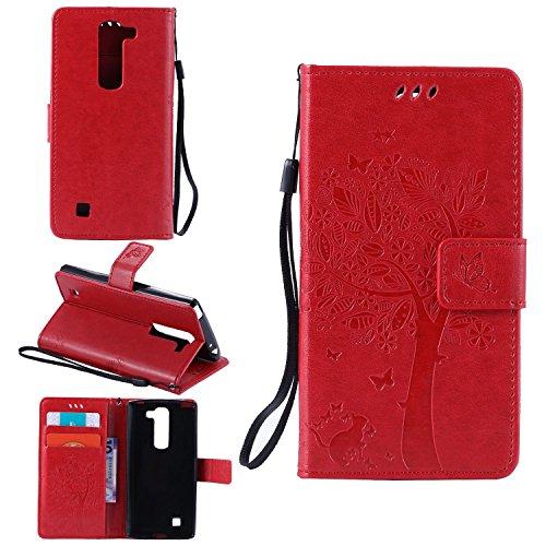 Funda Libro para LG G4c / LG G4 Mini / LG Magna (5 pulgada), Ycloud PU Leather Cuero Con Flip Cover Cierre Magnético Función de Soporte Billetera Case con Tapa para Tarjetas Gato Árbol Mariposa Rojo