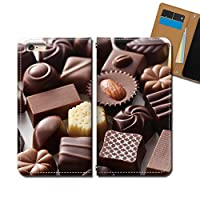 AQUOS sense4 basic A003SH ケース スマホケース 手帳型 ベルトなし スイーツ チョコレート 手帳ケース カバー バンドなし マグネット式 バンドレス EB331040115402
