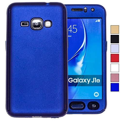 COOVY® Custodia per Samsung Galaxy J1 SM-J120 / SM-J120F / SM-J120F/DS (Model 2016) Protezione a 360 Gradi, Involucro Ultrasottile e Leggero Dotato di Protezione per Lo Schermo | Colore Blu