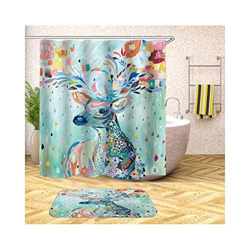 Bishilin Badematte Toilette, 3D Duschvorhang Anti-Schimmel 180x180 Gemalten Hirsch Badezimmerteppich Toilette 40x60