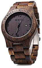 Unique design wooden wrist watch for man. Imported Japan quartz movement, guarantees precise and punctual timing.Date display at 3 o'clock position, can tell you the exact date. Long lifetime, the battery is very durable, keep the time precise. Wood ...