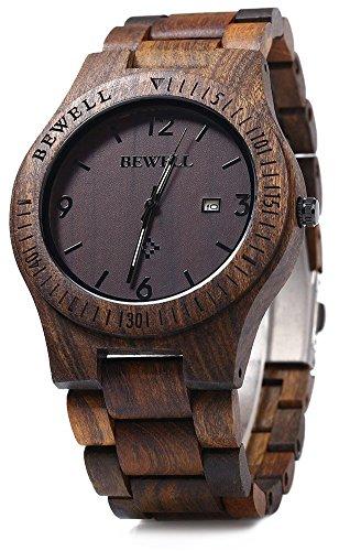 Bewell, Orologio da uomo in legno, analogico, con movimento al quarzo, con...