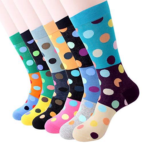 Dusenly 5 pares de calcetines para hombre de algodón peinado,  divertidos y informales,  calcetines redondos para hombres,  regalos novedosos carbón Talla única