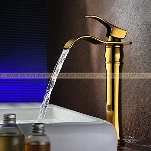 WANDOM moderne watervalwastafel waterkraan wastafel waterkraan verguld luxe marmer retro wastafel waterkraan Home decoratie Golden A