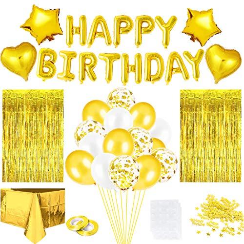 Geburtstagsdeko Golden Set, Konfetti Ballons Tischdecke Luftballons Glitzer Vorhang Konfetti Herz Stern Folienballon, für Mann Junge Frauen Mädchen Party Geburtstag Deko