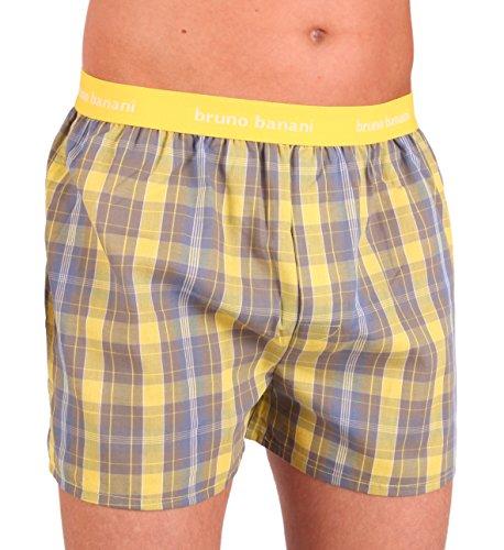 bruno banani Herren Boxershorts Unterhose Cotton (L, Gelb/Grau Karo(2114))