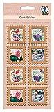 Ursus 41050001 Kork Sticker, Briefmarke Butterfly, 8 Stück