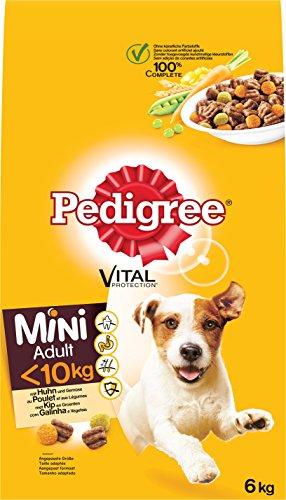 Pedigree Hundefutter Trockenfutter Adult für kleine Hunde <10 kg mit Huhn und Gemüse, 1 Beutel (1 x 6 kg)