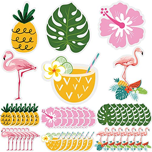 42 Pieces Tropical Summer Cutouts Hawaii Pineapple Flamingo Cutouts Tropical Accents Palm Leaves Cutouts for Hawaii Beach Summer Party Classroom Daycare Homeschool Wall Decor