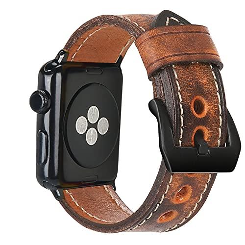 Estuyoya - Pulsera de Piel Hecha a Mano compatible con Apple Watch Diseño Único y Exclusivo Cuero Auténtico para iWatch 42-44mm Series 6 / 5 / 4 / 3 / 2 / 1 / SE - MarSpace