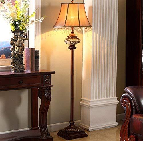 LHJCN Lámpara de pie de sofá Retro Americana, lámpara de pie Antigua, iluminación de Resina clásica de Color de Madera China Tallada