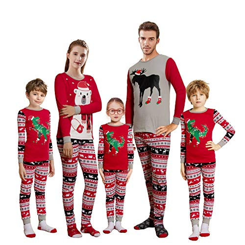 KikizYe Baby Infant Holiday Christmas Dinosaur Reindeer Matching Family Long Sleeves Xmas Pajamas Set Red Size 18-24M