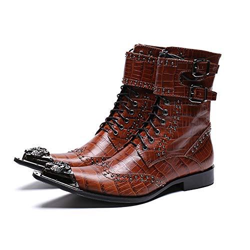 Gxet Cowboy Schoenen Halfhoge Martin Boot met stalen teen Cap Combat Laarzen, Rock Biker Schoenen en Casual Schoenen, Warme Schoenen, Geschikt voor bruiloften, feesten en dansen