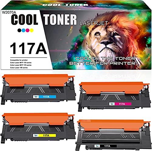 Cool Toner Cartuccia toner Compatibile In sostituzione di HP 117A W2070A Color Laser MFP 178nw 178nwg 179fnw 179fwg 150nw 150a (Nero,Ciano,Giallo,Magenta, confezione da 4)