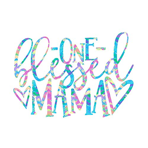 One Blessed Mama Mom Quote Vinyl Decal | Mama Sticker for Yeti Tumbler, RTIC Cup, Water Bottle, Laptop, or Car Window Accessories for Women | Birthday Gift for Mom | 3 inches x 4.25 inches