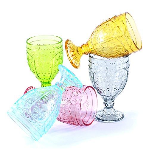 Fitz and Floyd Trestle Glassware Ornate Goblets, Set of 4, Aqua