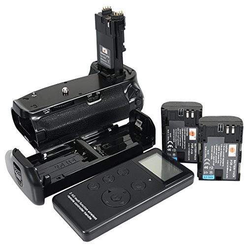 DSTE® Pro Batería Apretón Built in 2.4G Wireless Remote Control Compatible con Canon EOS 6D Mark II as BG-E21 + 2X LP-E6 Battery