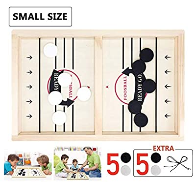 Toydaze Sling Foosball Fast Sling Puck Game with Extra 10 Pucks & 2 Slingshots for Spare Use, Portable Slingpuck Board Game for Child, Foosball Slingshot Outdoor Camping Board Games for Family by