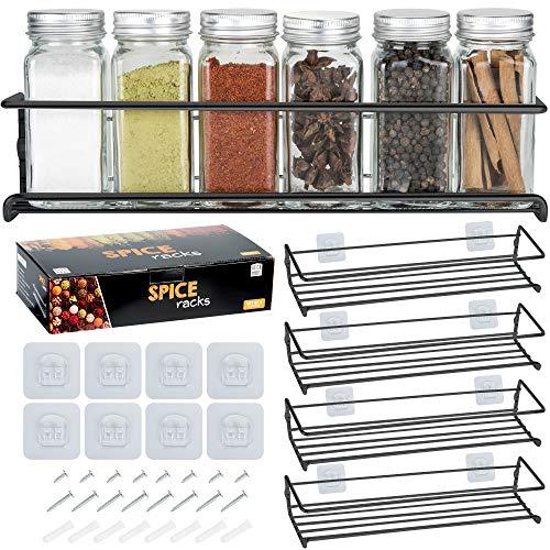 Deco Haus Organizador Especias - Set 4 Estantes de Metal - Estantes de Cocina, Armario, Organizador de Condimentos - Compatible con Nuestros Frascos - Adhesivos o con Tornillos - Negra, 29x6.35x5cm
