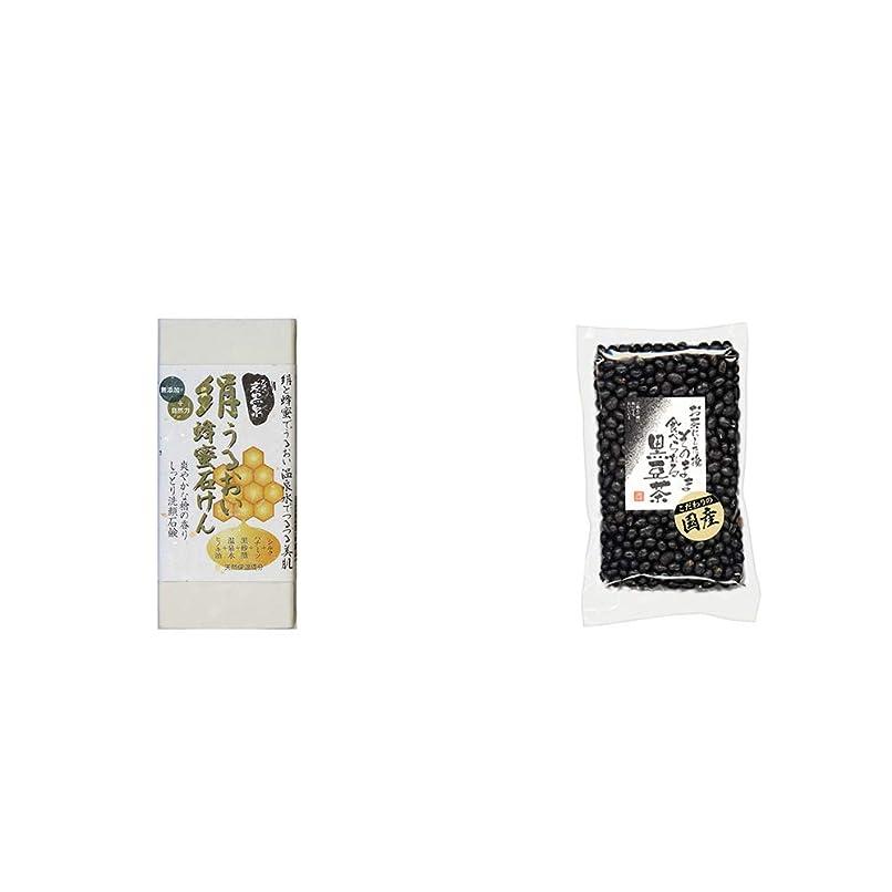 困惑したプラットフォーム海嶺[2点セット] ひのき炭黒泉 絹うるおい蜂蜜石けん(75g×2)?国産 黒豆茶(200g)