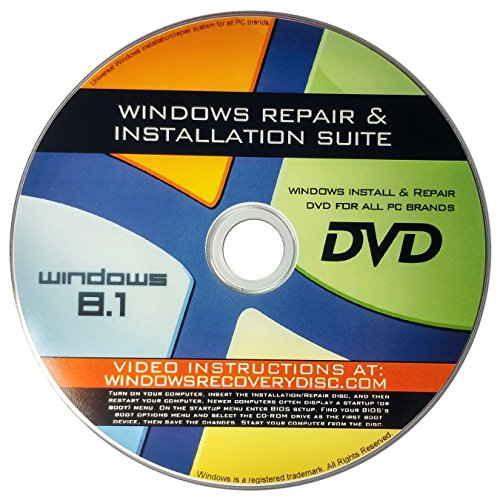 Recovery, Repair & Re-install disc compatible with Win 8.1 32/64 bit